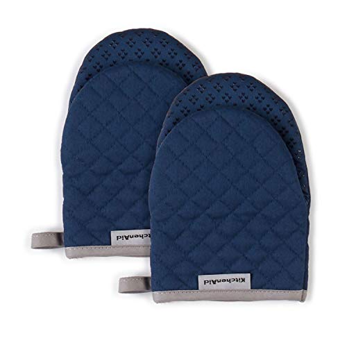 KitchenAid Asteroid Mini Cotton Oven Mitts with Silicone Grip, Set of 2, Blue 2 Count