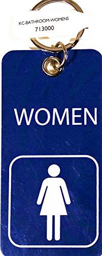 Key Tag with Ring, WOMENS Bathroom with Symbol, Blue