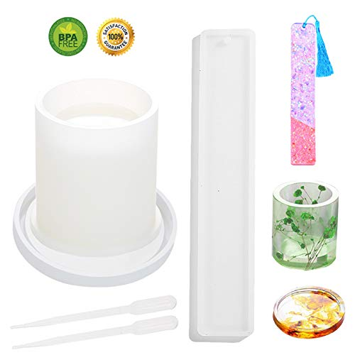 Resin Casting Moulds, 3d Resin Molds Safe Useful Eco-friendly Silicone Mold Making Kit for Making Small Coaster Pen Holders Lids Bookmarks Rulers - 5Pcs