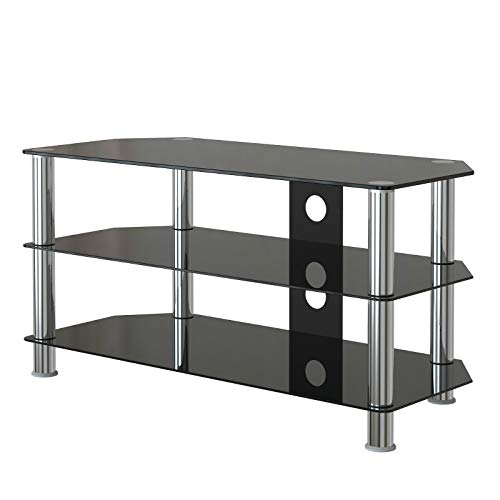 Ribitek TV Stand Table Tempered-glass Unit Curved Glass Table Televisions for 32-45 inch Plasma/LCD/LED/3D Black (100cm)