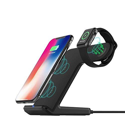 ADDANY Drahtlose Ladestation (QC3.0 Ladegerät Adapter enthalten) für iPhone XS Max/XR/X/8 Plus und Apple Watch 4/3/2,10W Qi Kabelloses Ladegerät für Samsung Galaxy Note und alle Qi-fähigen Telefone