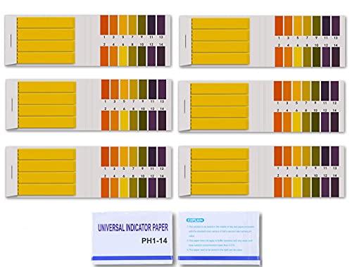 Papier Test de pH,480 Feuilles Bandes de Test pH Bandes de Papier Tournesol pH Universel de Tournesol 1-14 Indicateur de Test pour Sol Salive Urine Eau Nourriture Fish Tank Aquariums Étangs