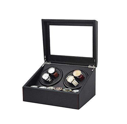 LQH Uhren Box Automatische Uhr Wicker Storage Box mit 4 + 6 Uhrenbox-Silent Motor schwarz