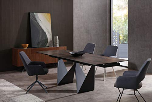 """Whiteline Modern Living Jack Extendable Dining Table with Ceramic Top and Matte Black Base, 71"""" to 102"""""""