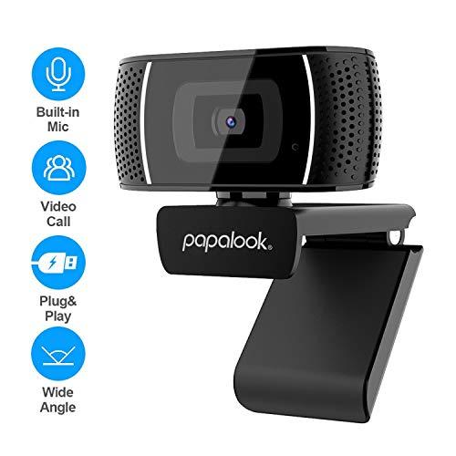 Papalook PA327 - Cámara web HD con micrófono, 720p, cámara web Plug and Play, portátil, USB para videoconferencias, trabajo en línea, oficina en casa, compatible con Mac Winows 7/8/10