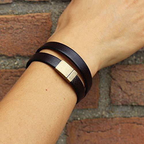 mitienda - Pulsera de piel unisex, color marrón oscuro