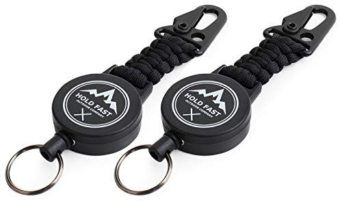 Schlüsselband ausziehbar 2 Stück - Ausweis Jojo - Schlüssel Jojo - Hold Fast Outdoor Schlüsselanhänger Keyholder Band mit Karabiner und Paracord schwarz black - Skipasshalter (2)