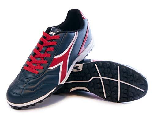 Diadora Women's Capitano TF Turf Soccer Shoes (10.5 Wide, Navy Blue/Red)