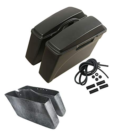 TCMT Hard Saddle Bags Bag W/Lid Fits For Harley Touring Sportster Dyna Softail FL XL 94-13 Capable with conversion Brackets