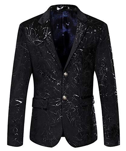 MAGE MALE Men's Dress Party Floral Suit Jacket Notched Lapel Slim Fit Two Button Stylish Blazer Black-Navy