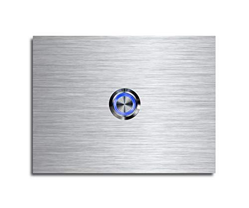 CHRISCK Design - roestvrij stalen deurbel Basic 12x9 cm rechthoekig met een bel-knop/LED-verlichting en mooie decoratieplaten van acrylglas naamplaat/belplaat