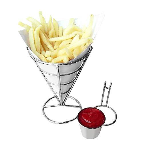 Placcatura Porta patatine fritte Buffet Cono Snack porta salsa auto Espositore Cestini cestini patatine per servire Cono Snack Rack di pollo fritto Patatine fritte Porta alimenti
