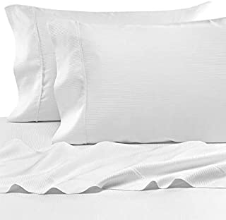 Eucalyptus Origins Tencel Lyocell King Sheet Set in White Stripe