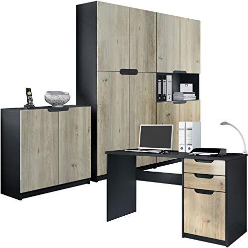 Vladon Büromöbel Arbeitszimmer komplett Set Logan, Korpus in Schwarz matt/Fronten in Eiche Nordic