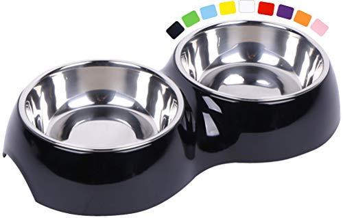 DDOXX Doppel-Fressnapf, rutschfest | viele Farben & Größen | für kleine & große Hunde | Futter-Napf Katze doppelt | Hunde-Napf Hund | Katzen-Napf Edelstahl-Napf | Melamin-Napf | Schwarz, 2 x 350 ml