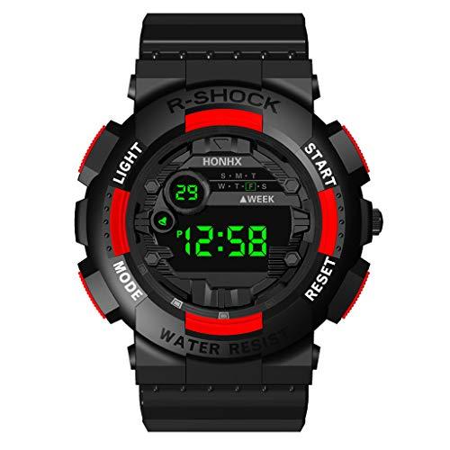 Armband für Herren/Skxinn Männer Digital LED Uhrenarmband,Mode Outdoor Sportuhr,Luxury Electronic Herrenuhr Ausverkauf(Rot)