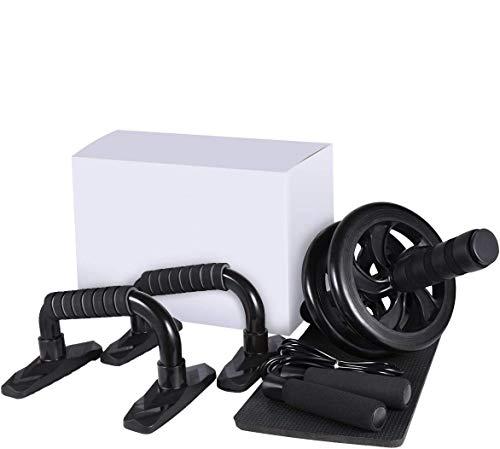 LYCAON Ab Roller Bauchtrainer mit Liegestützgriffe, Springseil und Rutschfester Kniematte, 4 In 1 Trainingsgeräte-Set zum Bauchmuskeltraining und Muskelaufbau für Frauen und Männer