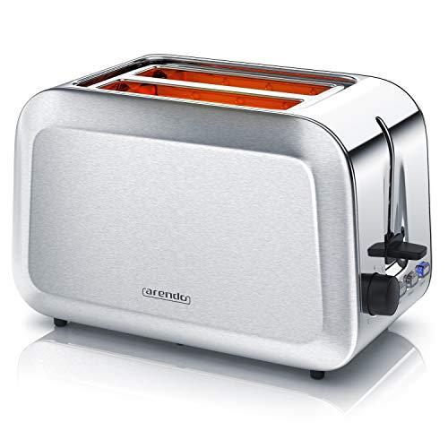 Arendo - Automatik Toaster - Edelstahl gebürstet - 2 Scheiben - Defrost Funktion - Wärmeisolierendes Doppelwandgehäuse - GS-zertifiziert