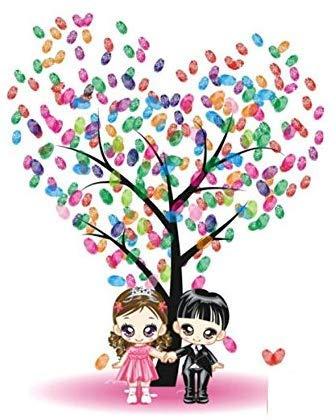 ZGYQGOO Kreative Hochzeitskarte Fingerabdruck Unterschrift Malerei