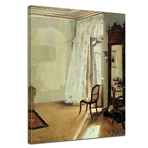 Leinwandbild Adolph von Menzel Das Balkonzimmer - 50x70cm hochkant - Wandbild Alte Meister Kunstdruck Bild auf Leinwand Berühmte Gemälde