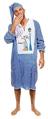 W5367-58 blau-weiß Herren Nachthemd Schlafwandler Kostüm mit Mütze Gr.58