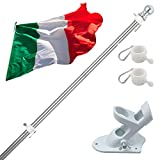 180cm Kit de Asta de Bandera de Aluminio con Soporte Asta de Bandera de Acero Inoxidable, kit de Barra de Bandera de Montaje en Pared Exterior con Anillos Giratorios, Incluye Bandera Italiana