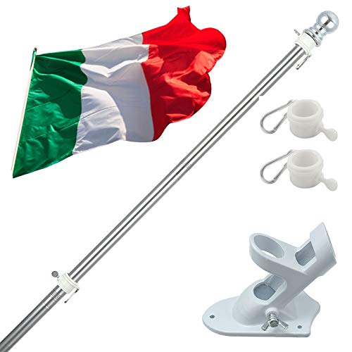 Kit Asta Bandiera di alluminio con Staffa Asta Bandiera in Acciaio Inossidabile, 150cm Set Pennone per Bandiera con Anello Rotanti per Montaggio a Parete Regolabile Include Bandiera Italiana