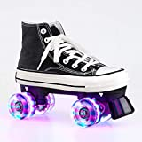 Women\'s Roller Skates Light Up Wheels, Canvas Adjustable Double Row Roller Skates Shiny Derby Skates Illuminating for Teens and Youth (Black with light,9)