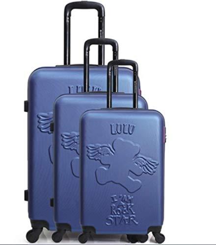 Lulu Castagnette Reisekoffer, ABS, robust, leicht, 4 Rollen, mit integriertem Schloss (55 cm + 66 cm + 75 cm) Blau blau S