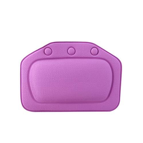 Ponacat Oreiller de Bain Spa Rembourré Spongieux Coussin de Baignoire Relaxant avec 3 Ventouses Accessoires de Repose-Tête Doux en PVC Cou Violet