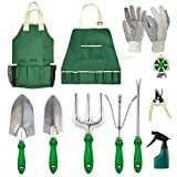 GardenHOME Garden Tool Set - 11Pcs Garden Hand Tool Set Equipment with Tote Bag Adjustable and Apron,Gardening Tools for Women