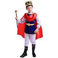 Kawaayi(カワアイ)コスプレ 王子様 キッズ 子供用 男の子 女の子 衣装 仮装 変装 3点セット ハロンウィン コスチューム コスプレ 可愛い パーティー 学園祭 演出服 大きいサイズ (ブルー, 120cm)