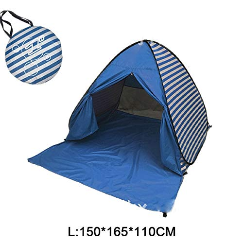 Mdsfe Beach Camping Tent Pop Up Automatic Open Family Ultralight Folding Tourist Fish Anti-UV Fully Sun ShadeTent 2-5 Persons XA164A-Deep Blue WL