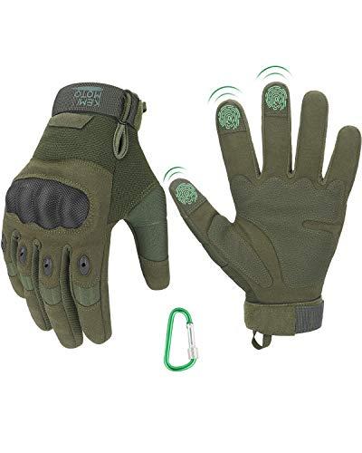 Taktische Handschuhe, Motorradhandschuhe mit Kletterschnalle, 3-Finger-Touchscreen, Amtungsaktive Einsatzhandschuhe mit Vollfinger für Fahrradfahren, Wander, Jagd(Grün,M)