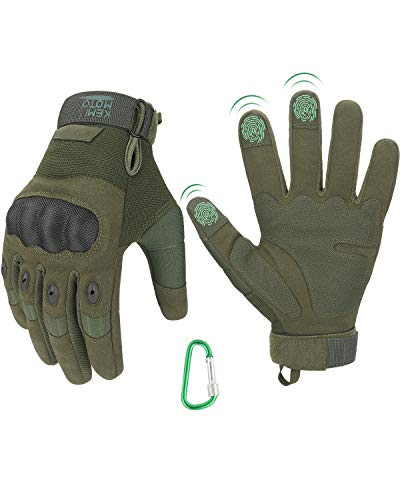KEMIMOTO Tactical Gloves, Touchscreen Military Gloves with Hard Knuckle for Hunting Shooting Hiking Airsoft Camping Paintball Army Training