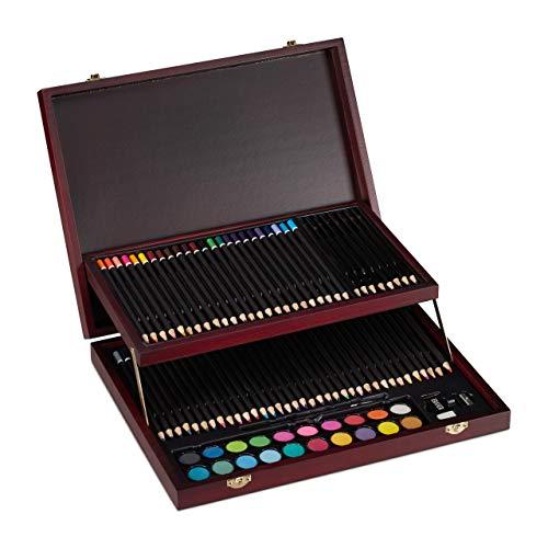Relaxdays Malkoffer, 73-tlg. Zeichenset Holz, Buntstifte Set, Bleistifte, Wasserfarben, Anspitzer & Radierer, bordeaux