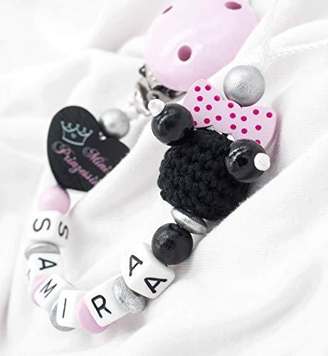 Schnullerkette mit Namen Baby Mädchen Maus Mouse Mini Minnie Schleife Häkelperle Babygeschenk Geburt rosa