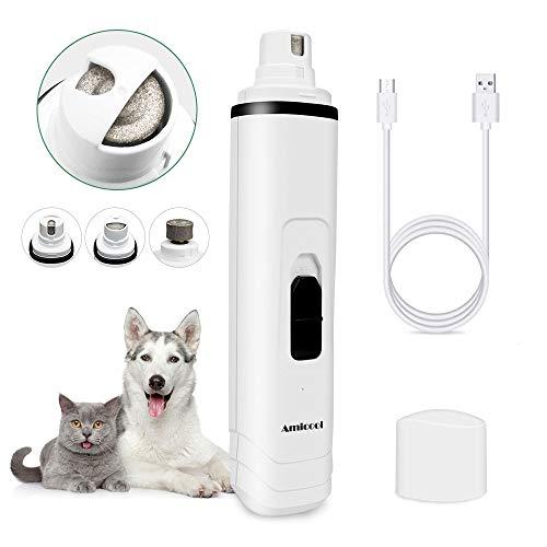 Amicool Krallenschleifer für Hunde und Katzen, Haustier Krallenschere mit 3 Schleif Ports, USB-Anschluß, Elektrische Nagelfeile für Kleine/Mittel/Groß Haustier, 50 Dezibel Leise, 2 Geschwindigkeiten