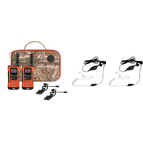 Motorola Talkabout T265 Rechargeable Two-Way Radio Bundle – Orange & Motorola 1518 Surveillance Headset with PTT Mic, Black, White