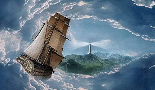 WvtsUcykyga Alfombra de navegación,Gran Barco bajo la guía de un Faro en el mar,Alfombra de Franela Absorbente Suave Antideslizante para Cocina y baño