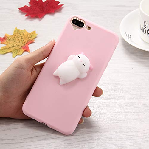 Shiningxie New For iPhone 8 Plus & 7 Plus 3D Little Bear Pink Ears Pattern Squeeze Relief Squishy Dropproof Protective Back Cover Case
