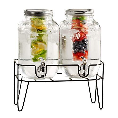 Style Setter Clifford Set of 2 Beverage Dispensers with Infuser & Metal Stand Cold Drink with 4 Liter Each Capacity Glass Jug and Acrylic Spigot in Gift Box for Parties, Clear