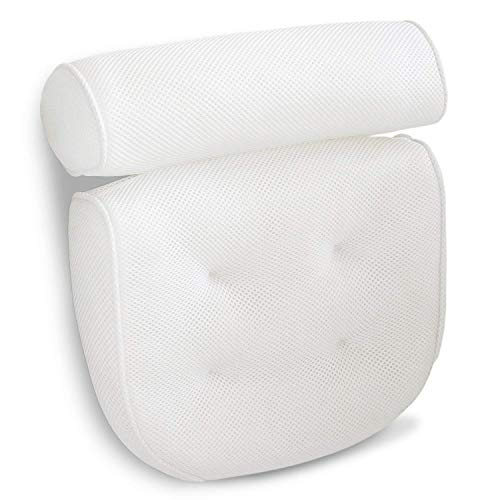 Product Image of the Luxurious Bath Pillow Non-Slip and Extra Thick with Head, Neck, Shoulder and Back Support. Soft and Large 14x13x4 Inches for The Ultimate Bathtub Relaxation Experience. Fits Any Tub