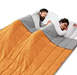 ROKDUK King Weighted Blanket Throw 86x92in Couples Size 30 lbs. Soft Cooling Reversible 1800TC Cotton Alternative with Glass Beads, Light Grey/Orange