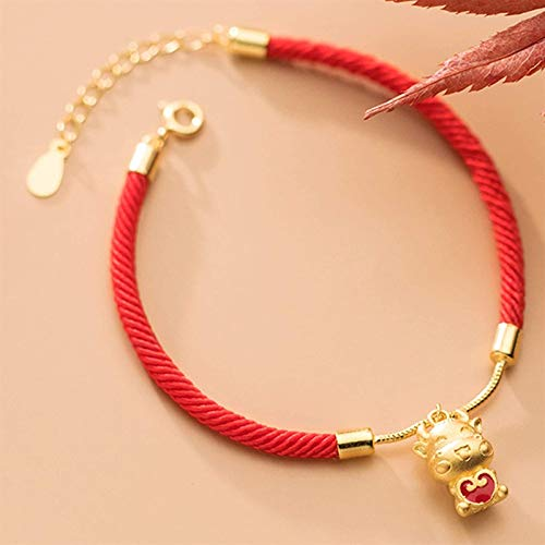 GIAOYAO Lucky Charm Bracelet 2021 Year of The Ox S925 Silver Gold-Plated Lucky Ox Heart-Shaped Red Rope Braided Bracelet Zodiac Bracelet Adjustable Amulet Attract Wealth