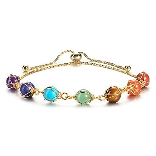 Jovivi Bracelet Chakra avec Chaîne Cuivre 14k Or Doré Retro DIY Pierre d'Energie Pierre Précieuses Extensible Bracelet Femme Filles