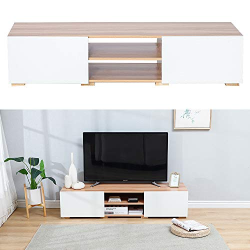 TV-Meubel Scandinavisch, TV-Kast met 2 Deuren en 2 Planken, Naturel en Wit, 140 * 31 * 40 cm