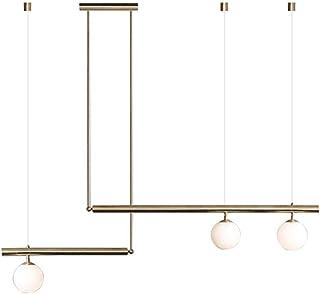 Chandelier, Mid Century Modern 3-Light Pendant Lamp, E27 Globe Clear Glass Pendant Lamp, Linear Ceiling Light Chandelier G...