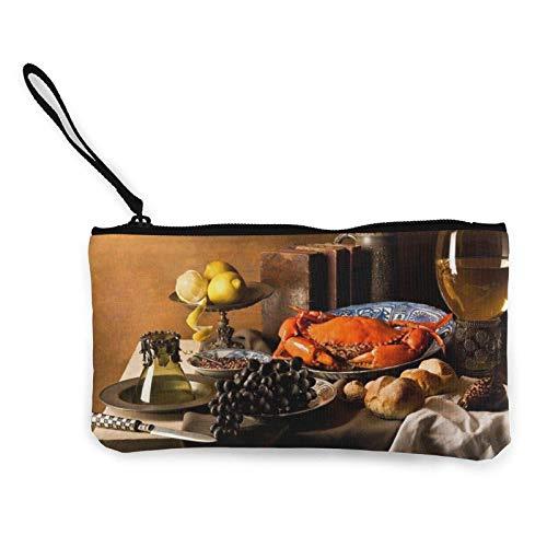 Monedero de lona de cangrejo con cremallera, monedero para mujeres y niñas