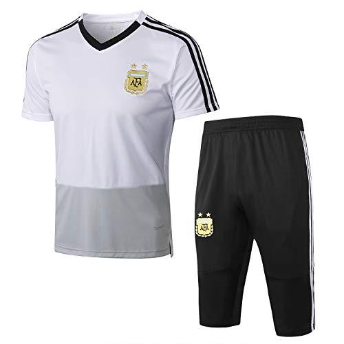 Qinmo 2021 Nuevos Jerseys de Fútbol, Argentina Soccer Club Men's Traje de Hombre Conjuntos Sportswear Set Short Manga Top y Shorts para el Verano (Size : L)